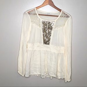 Miss Me Boho Peasant Popover Lace Sequin Top